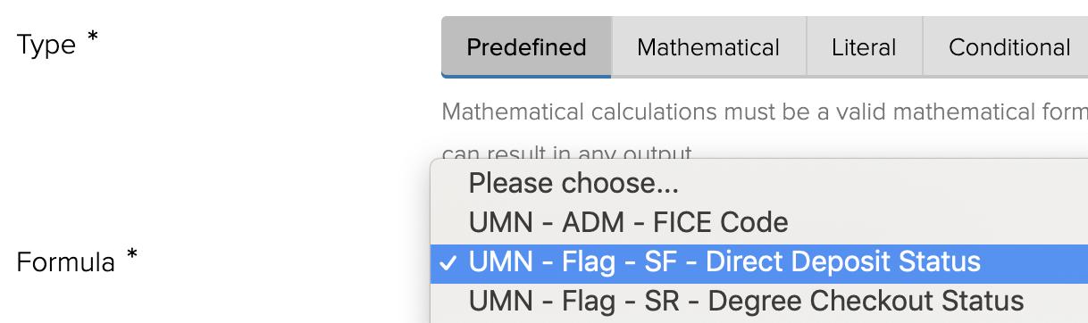 Choose a formula for Predefined Logic