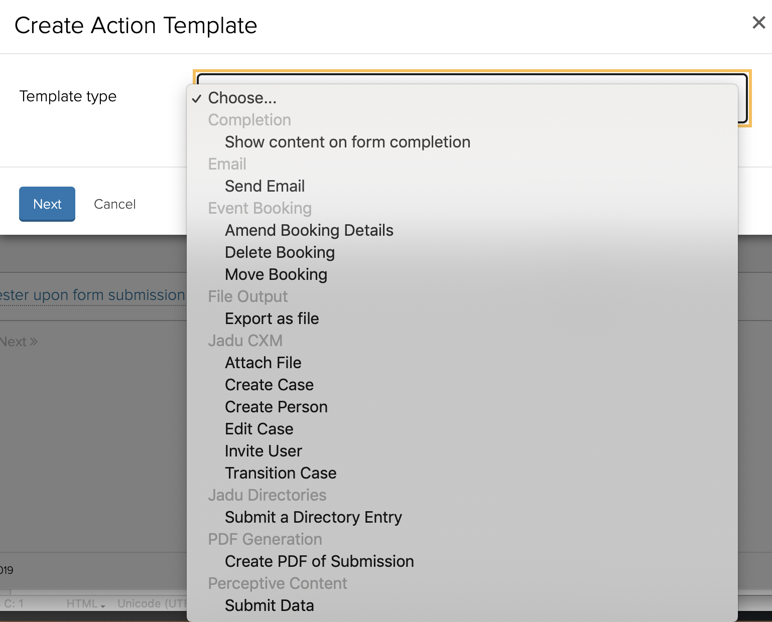 Jadu Forms Action Template Types