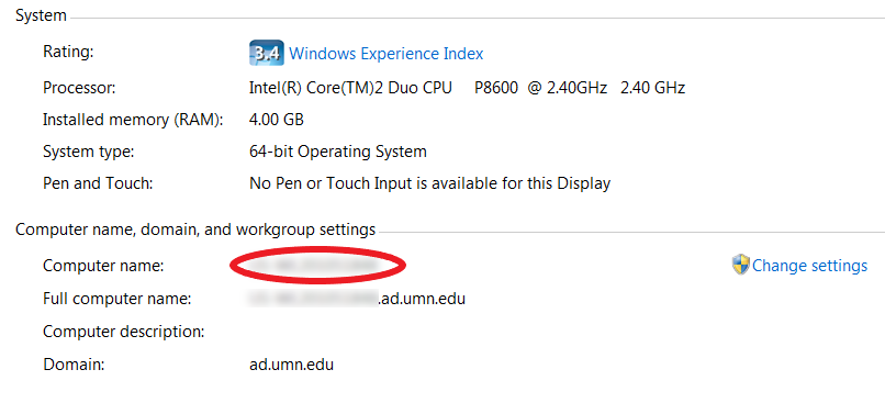 There are two sections on the page: System and Computer name, domain, and workgroup settings. The name next to Computer name is circled