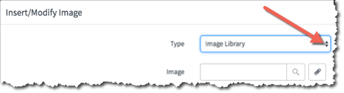 Image Library selected in the Type dropdown menu on the Insert/Modify Image screen