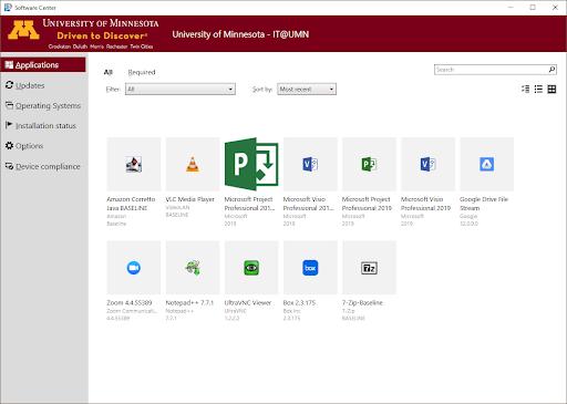 Software Center interface