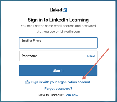 LinkedIn Learning sign-in screen with arrow pointing to Sign in with your organization account link