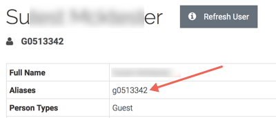 the my-account page for a guest account with the aliases g0513342 highlighted.