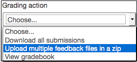 Grading actions menu opened with Upload multiple feedback files in a zip option selected.