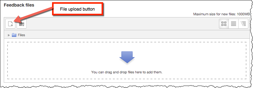 Feedback files upload box with arrow pointing to uploading a file icon