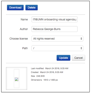 File action box that will appear when the user clicks on a file in the Feedback files area