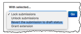 Dropdown menu at the bottom of the grading/submission page with Revert the submission to draft status highlighted