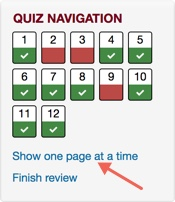 Quiz Navigation block with arrow pointing towards Show one page at a time link