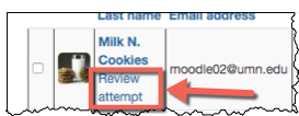 student attempt with review attempt option highlighted.