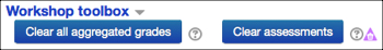 The clear all aggregated grades button under the Workshop Toolbox link.