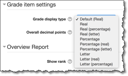 The drop-down menu showing all the options available for how to display a student's grade in the grade column of the gradebook.