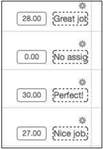 gradebook column with Editing turned on which then shows a small portion of the feedback column next to the grade column for each assignment.