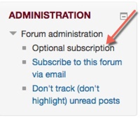 Student email subscription options in the Administration block