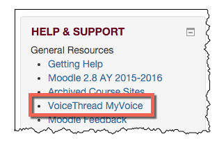 help and support box on the Moodle dashboard.