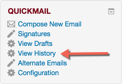 Quickmail block with View History link highlighted.