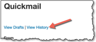 View history link under Quickmail heading.