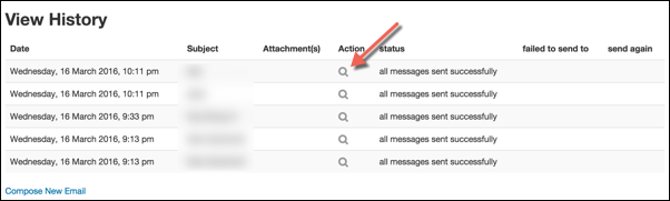 Quickmail's View History page listing past emails.