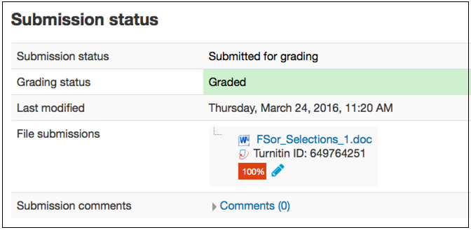 Submission status page for Moodle 3.0 with a blue pencil icon next to the originality report score.