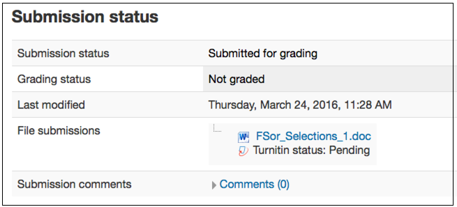 Submission status page for Moodle 3.0 with a pending status.