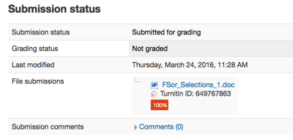 Submission status page for Moodle 3.0 with a successfully uploaded assignment to Turnitin followed by the Turnitin ID number for the assignment and the originality report score.