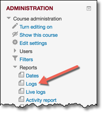 Admin block with Logs link highlighted.
