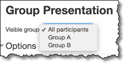 Dropdown menu showing groups for this assignment.