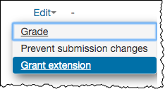 Edit drop down menu with Grant extension option highlighted.
