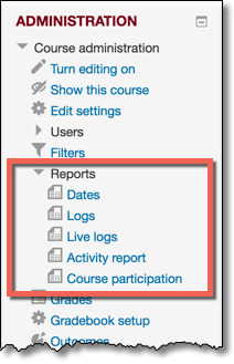 Administration block with Reports section expanded showing reporting options.