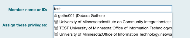 A UMN Internet ID is being typed into the Member name or ID field.