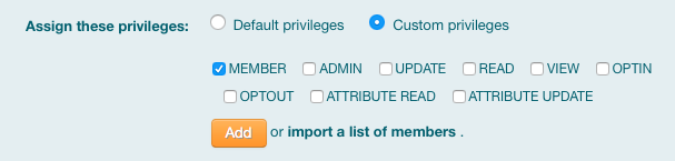 A list of the Grouper roles that can be assigned to a member or subgroup are listed. Member is checked by default.