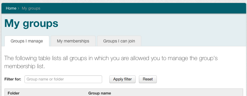 """The """"My Groups"""" page is displayed, and the """"Groups I Manage"""" tab is active/selected."""