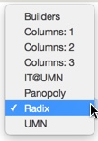 the choices in the layout category selector: builders, columns 1, columns 2, columns 3, panoply, radix