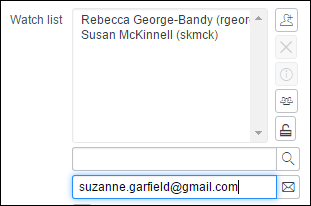 Watch list box expanded with sample email in Enter email address field.
