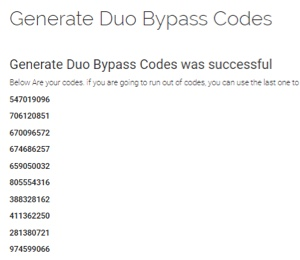 Screen showing list of bypass codes