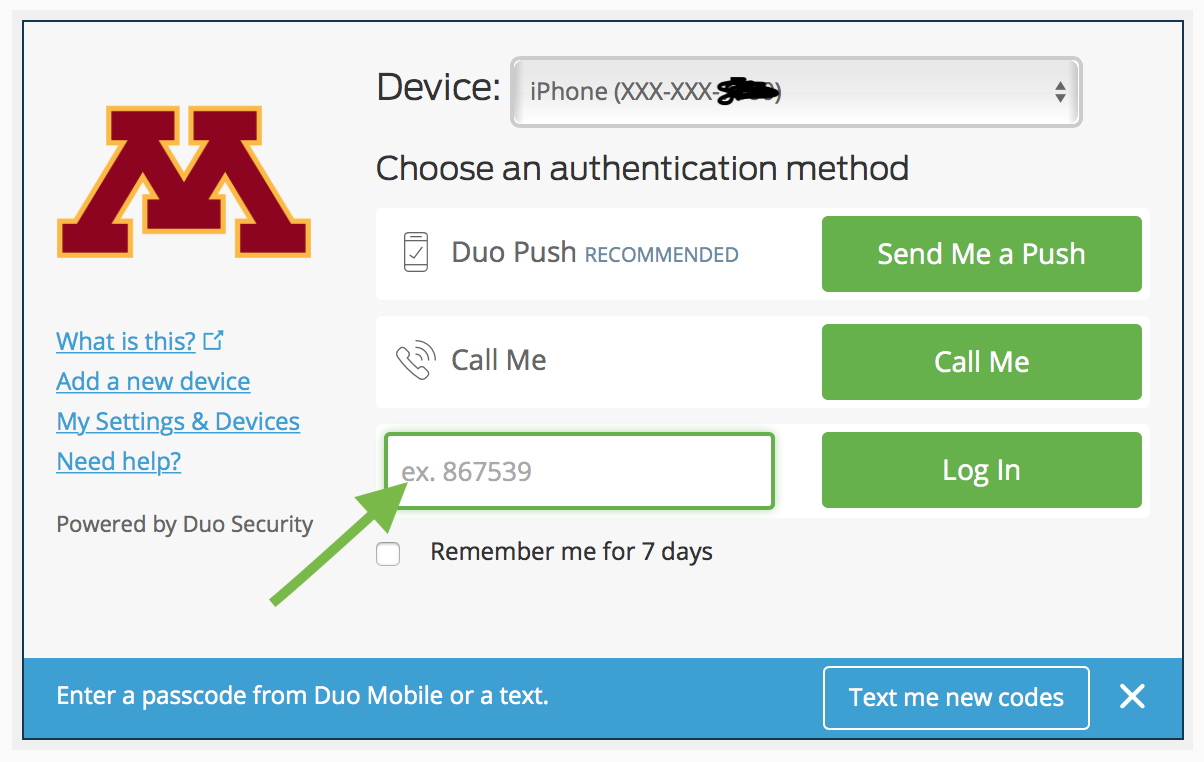 Duo Security verification screen with arrow pointing to pass code field next to Log in button