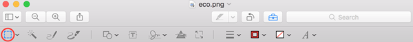 Mac Preview app toolbar, selection icon highlighted