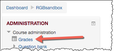 an arrow pointing at the grades link in a student's course homepage