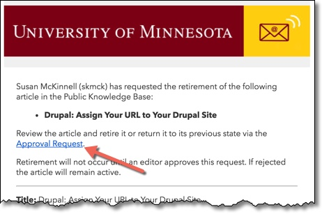 Email of an Approval Request with Approval Request link highlighted.