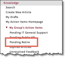 Application Navigator with Knowledge section expanded and Pending Retire item highlighted. This item is only available to Editors.