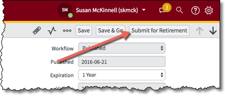 Arrow pointing towards Submit for Retirement button in header of knowledge article edit form.