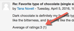 Student view of rating on their own forum post. This example displays the text 'Average of ratings:3 (1)'.