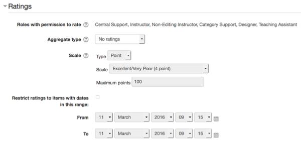 Ratings options in Forum settings