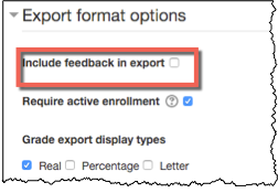 Expanded export format options with Include feedback in export option highlighted.