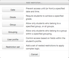 Add Restriction popup window with  possible restriction types