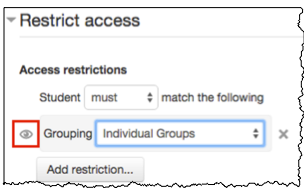 restrict access restriction with eye icon showing that the restriction information is visible to students.