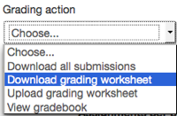 Grading action menu with Download grading worksheet highlighted.