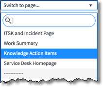 Switch to page... menu with Knowledge Action Items option highlighted.