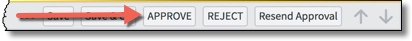 Approval Request header with arrow pointing toward the APPROVE button.