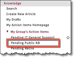 Application Navigator with Knowledge section expanded and Pending Public KB item highlighted. This item is only available to Editors.