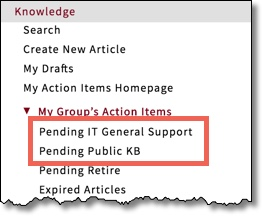Application Navigator with Knowledge section expanded, Pending IT General Support and Pending Public KB highlighted.